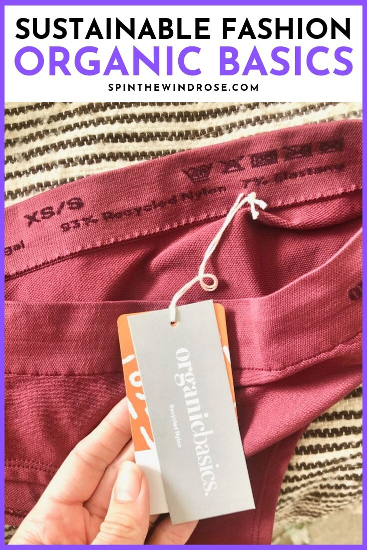 "Pinterest image with a photo of the tag on the Organic Basics briefs and the wording ""Sustainable fashion - Organic Basics"""